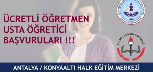 Antalya Konyaaltı Halk Eğitim Merkezi Usta Öğretici Başvuruları