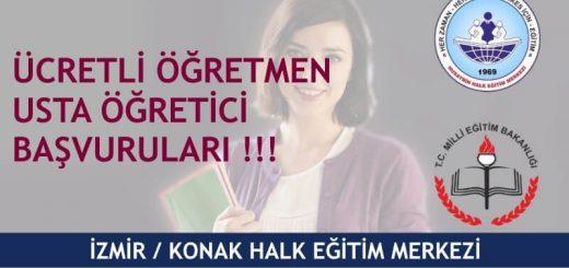 İzmir Konak Halk Eğitim Merkezi Ücretli Öğretmen Usta Öğretic Başvuruları