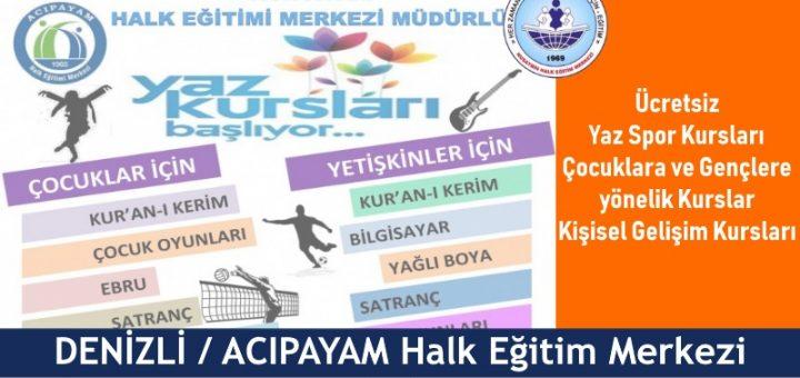 DENİZLİ ACIPAYAM Halk Eğitim Merkezi Yaz Kursları