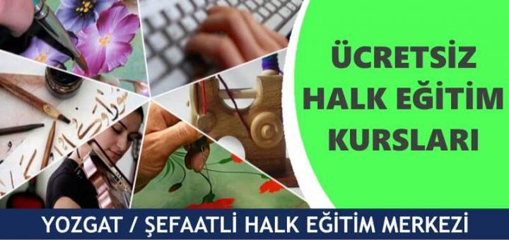 YOZGAT ŞEFAATLİ Halk Eğitim Merkezi Kursları