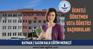 BATMAN SASON Usta Öğretici Başvuruları