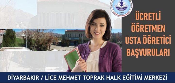 Diyarbakır Lice Mehmet Toprak Halk Eğitim Merkezi Ücretli Öğretmen Usta Öğretici Başvuruları